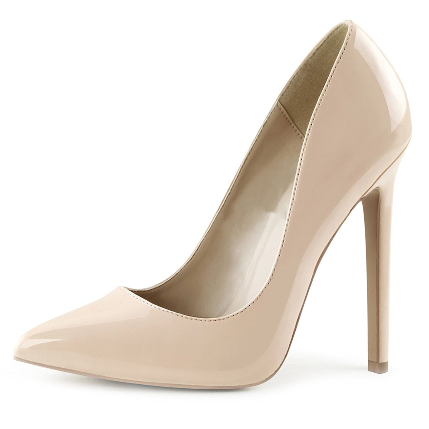 e1a2724ae20 Get Quotations · Summitfashions Womens Nude Color Heels Classic Pointed Toe  Pumps Shiny Stilettos 5 Inch Heels