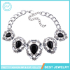 Latest Design Fashion Jewelry Women Gem Stone Silver Chain Black Crystal Statement Collar Necklaces