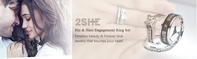 High Quality classic 925 sterling silver engagement wedding rings set