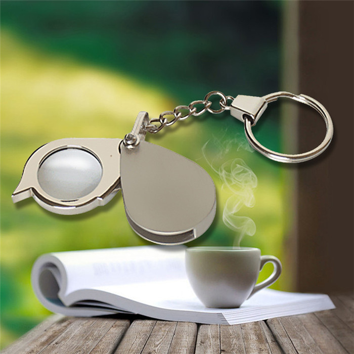 Portable 8X Folding Key Ring Magnifier with Key Chain Daily Magnifying Tool