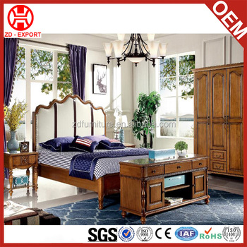 Country Style Luxury Wood Furniture Durable Latest Wood Double Bed