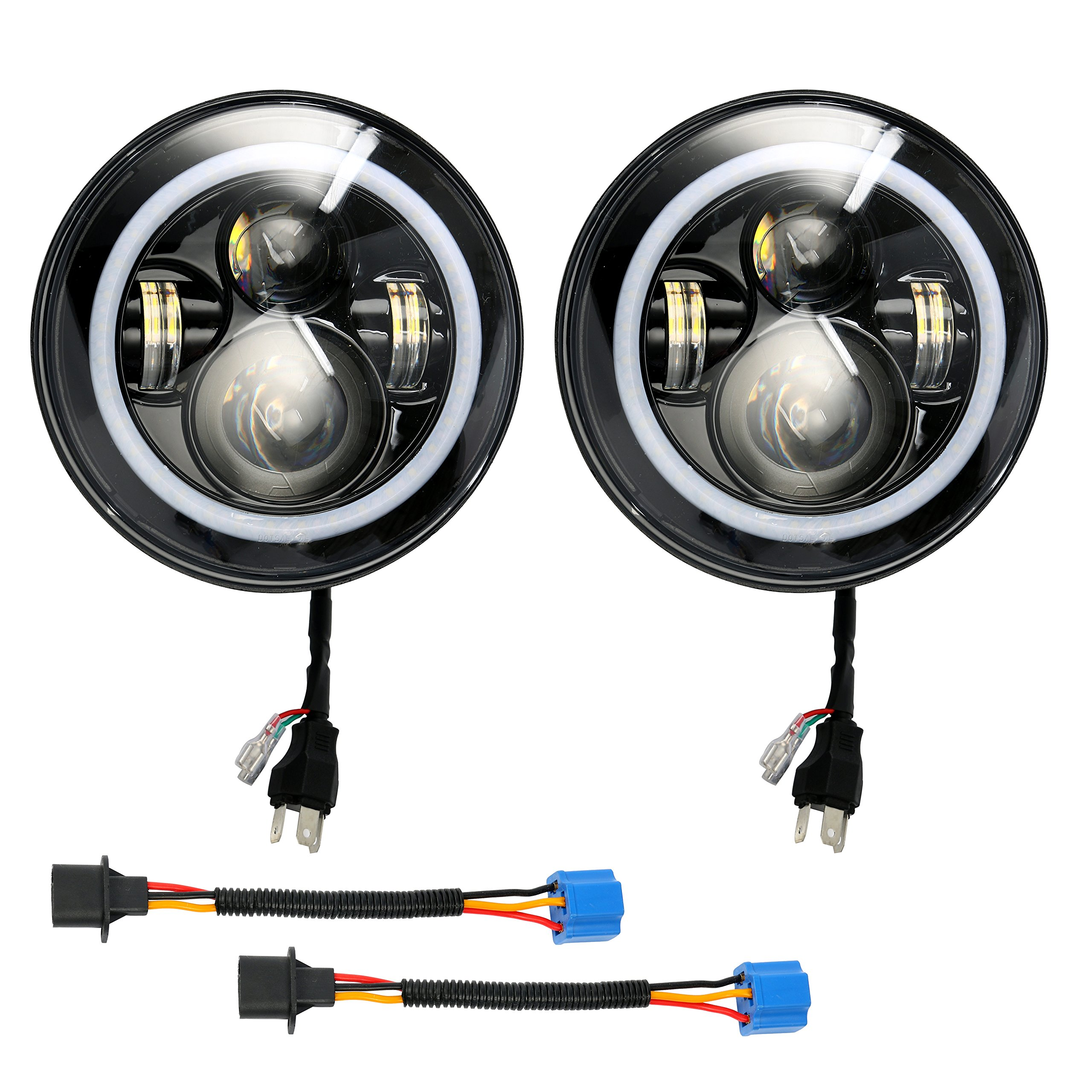 Cheap Jk Led Find Deals On Line At Alibabacom Lp530 Wiring Harness Get Quotations Yaetek 1 Pair 7 Round Angel Eyes Cree Halo Headlight For Jeep Wrangler