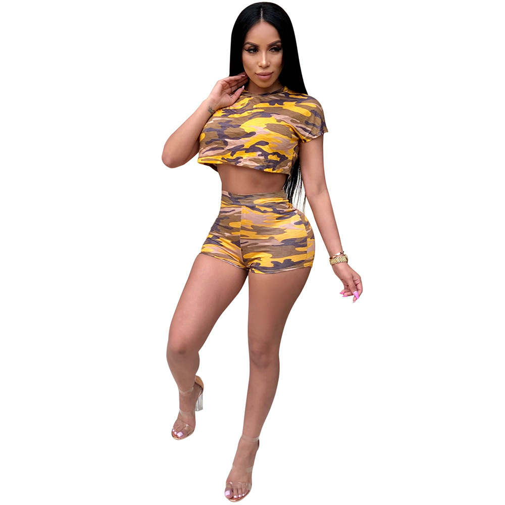 WNAK8594 HOT sale camouflage crop top and mini shorts two piece women outfits clubwear set WNAK8594