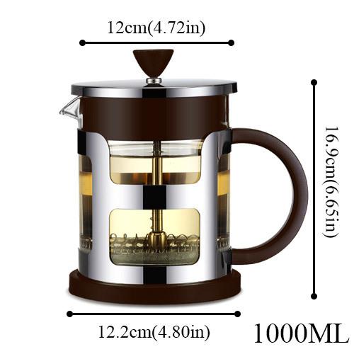 1000 мл французский Пресс из нержавеющей стали чайник стеклянный чайник с ситечком для чая чайник чайники кофемашина(Китай)
