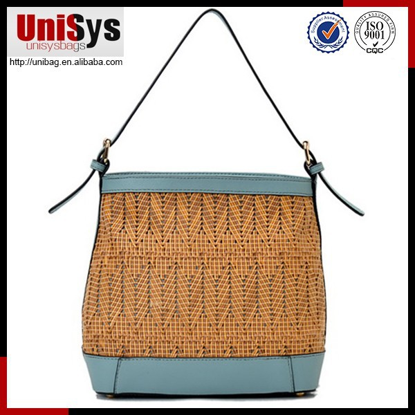 Fashion straw bag decorated straw bag raffia straw crochet bag