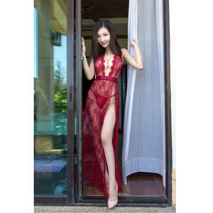 head seal beautiful young girl fashion long dress transparent lace hot sexy lingerie