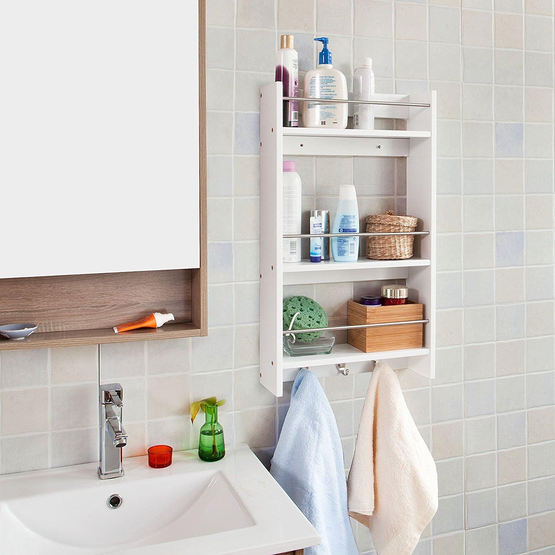 Haotian Wall Shelves,Wall rack,Wall Cabinets,Wall-Mounted Cabinets,Storage Racks, Hanging Entryway Shelf,Storage Shelf,and Coat Rack Wall Shelf with Hooks (FRG33-W)