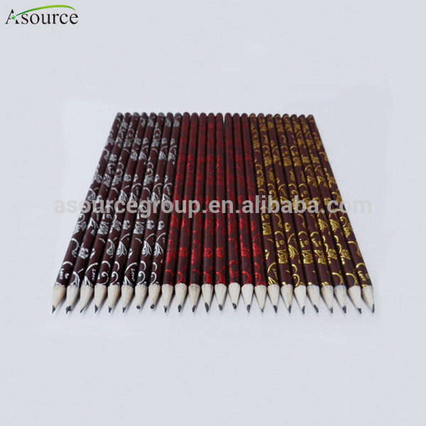 High Grade Foil Printing HB Wooden Pencil With Eraser