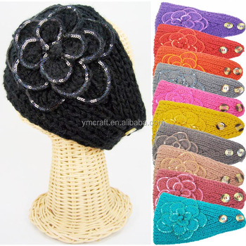 Winter Knitted Headband With Button Closure Pattern Warm Knit