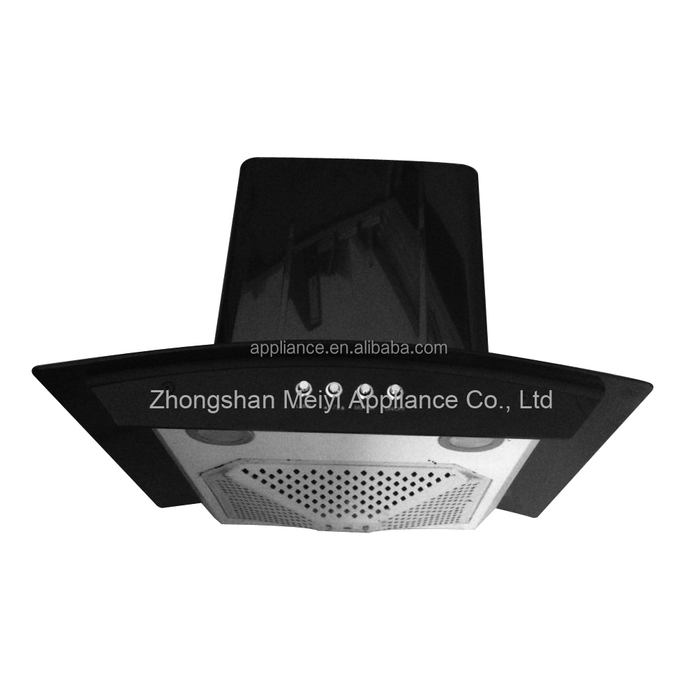 New Style Range Hood With Black Glass Cooker Hood
