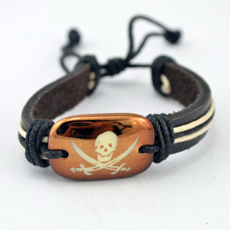 New Arrive Men Jewelry Accessorie Vintage Style Antique Brass Stone Horrible Skull Mens Leather Gift Bracelets/Bangles