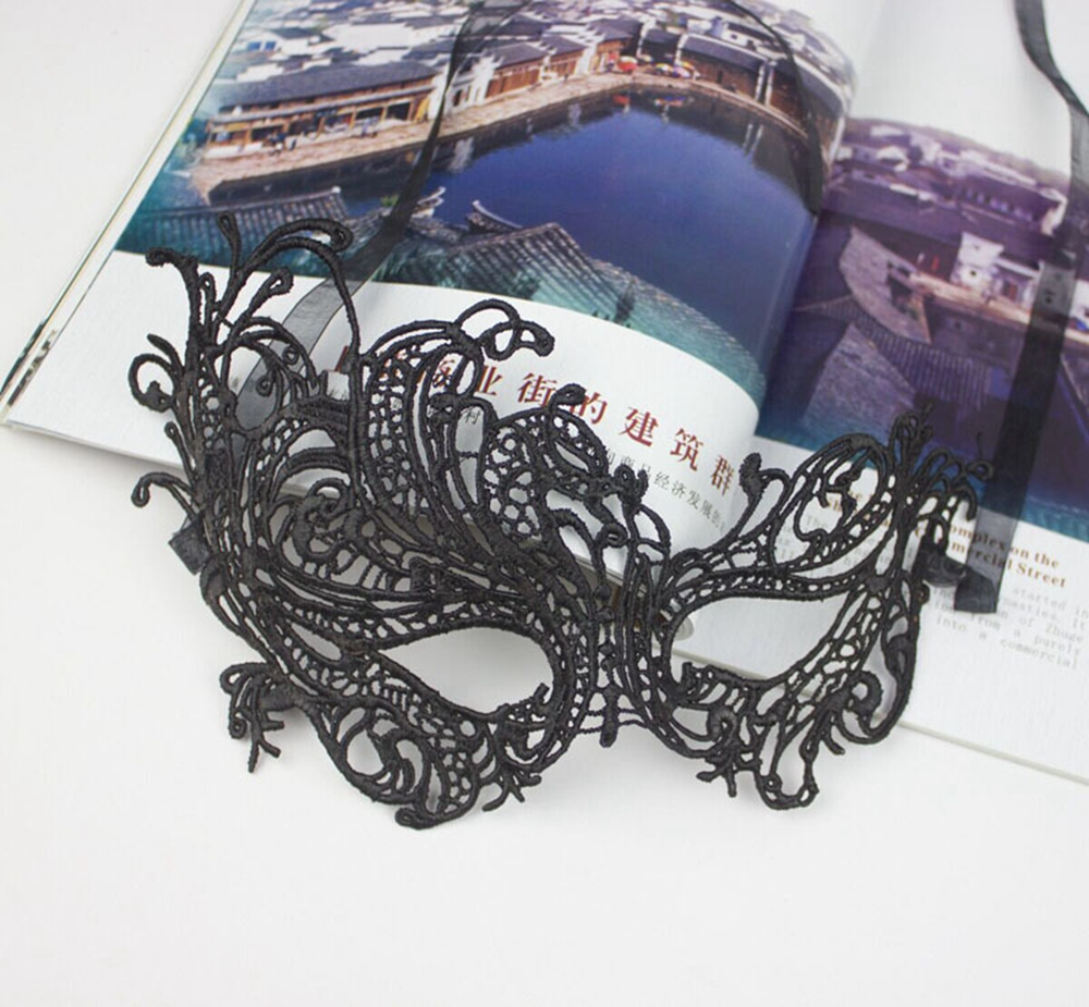 Lace Masquerade Mask,Aniwon 6 pack Sexy Venetian Black Lace Face Eye Mask for Party Prom Ball Halloween