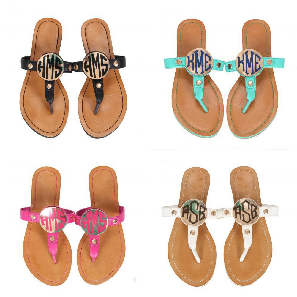 Wholesale Brown Jingly Leather Monogram Flat Sandals
