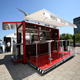 Outdoor coffee shop display kiosk with coffee shop counter