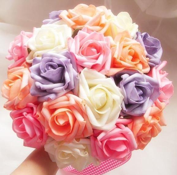 Korean Wedding Flowers: Korean Bride Bouquet 18 Large Hands Roses Pink Wedding