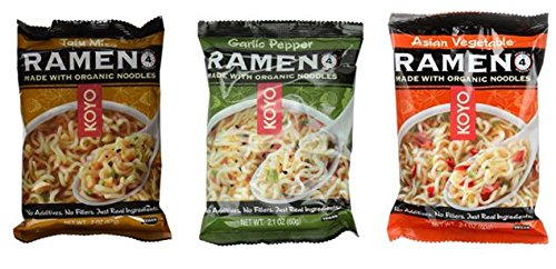 Koyo Vegan Organic Noodle Ramen 3 Flavor 9 Bag Variety Bundle: (3) Asian Vegetable, (3) Garlic Pepper, and (3) Tofu Miso, 2-2.1 Oz Ea (9 Tot)