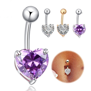 Cute Heart Rhinestone Navel Ring Women 2017 Fashion Brand Body Jewelry Medical Stainless Steel Crystal Belly Button Rings