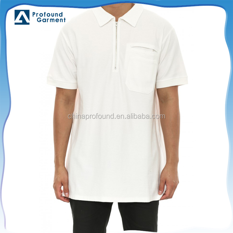 Men's latest design blank polo shirts,zip fly pocket solid color polo shirts for men