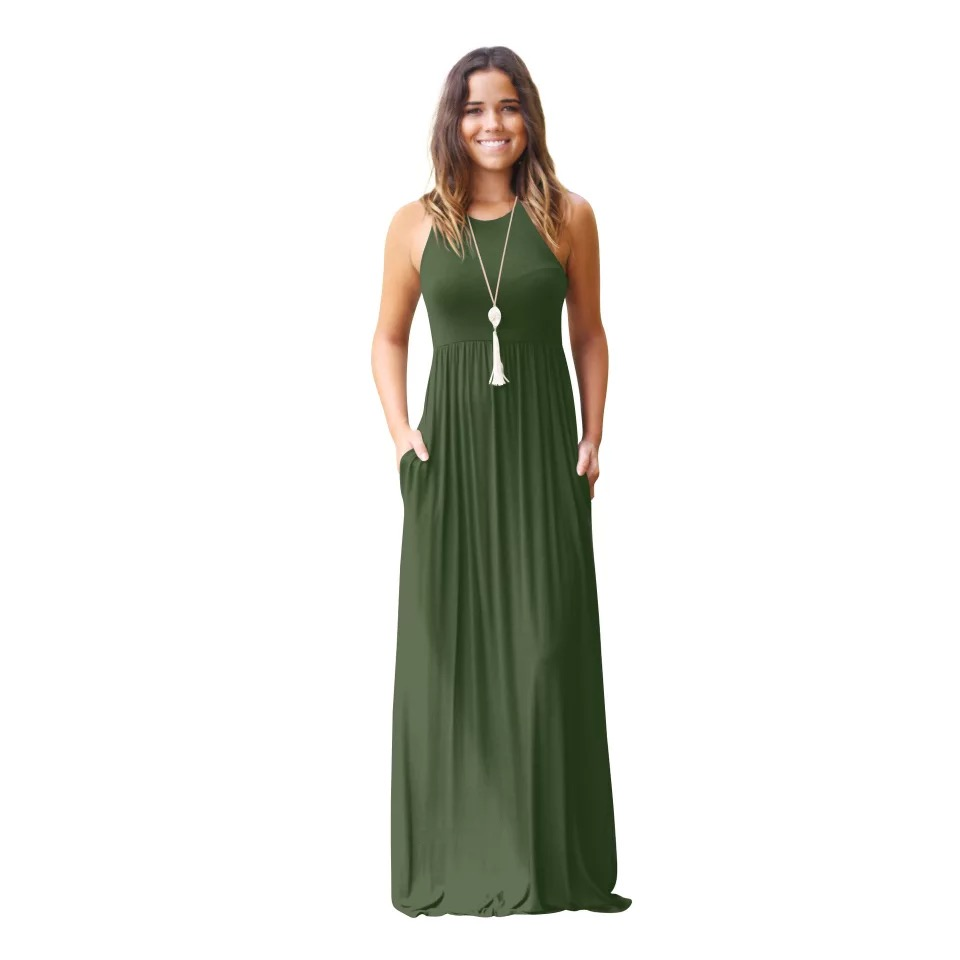 Wholesale Women Sleeveless Loose Plain Solid Maxi Dresses Casual Long Dress With Pockets