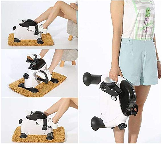 Mini Exercise Bike Desk Pedal Bicycle for Leg and Arm Cycling Exerciser With LCD Monitor and Flywheel