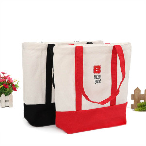 Promotional bio recyclable standard size heavy organic cotton linen canvas tote bag with long handle