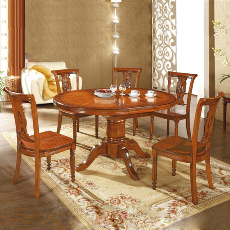 Red Dining Room Table And Chairs: European Solid Wood Dining Tables And Chairs Combination