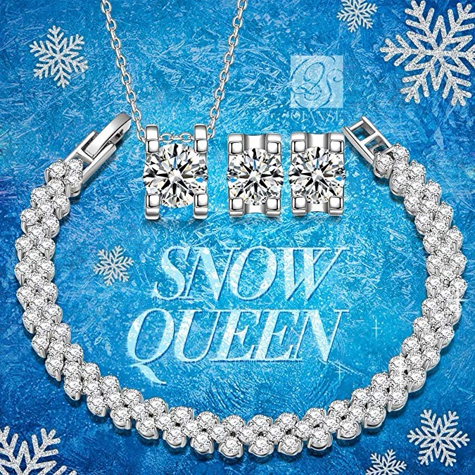 Snow Queen Diamontrigue Jewelry: Snow Queen Cubic Zirconia Jewelry Set White Gold Plated