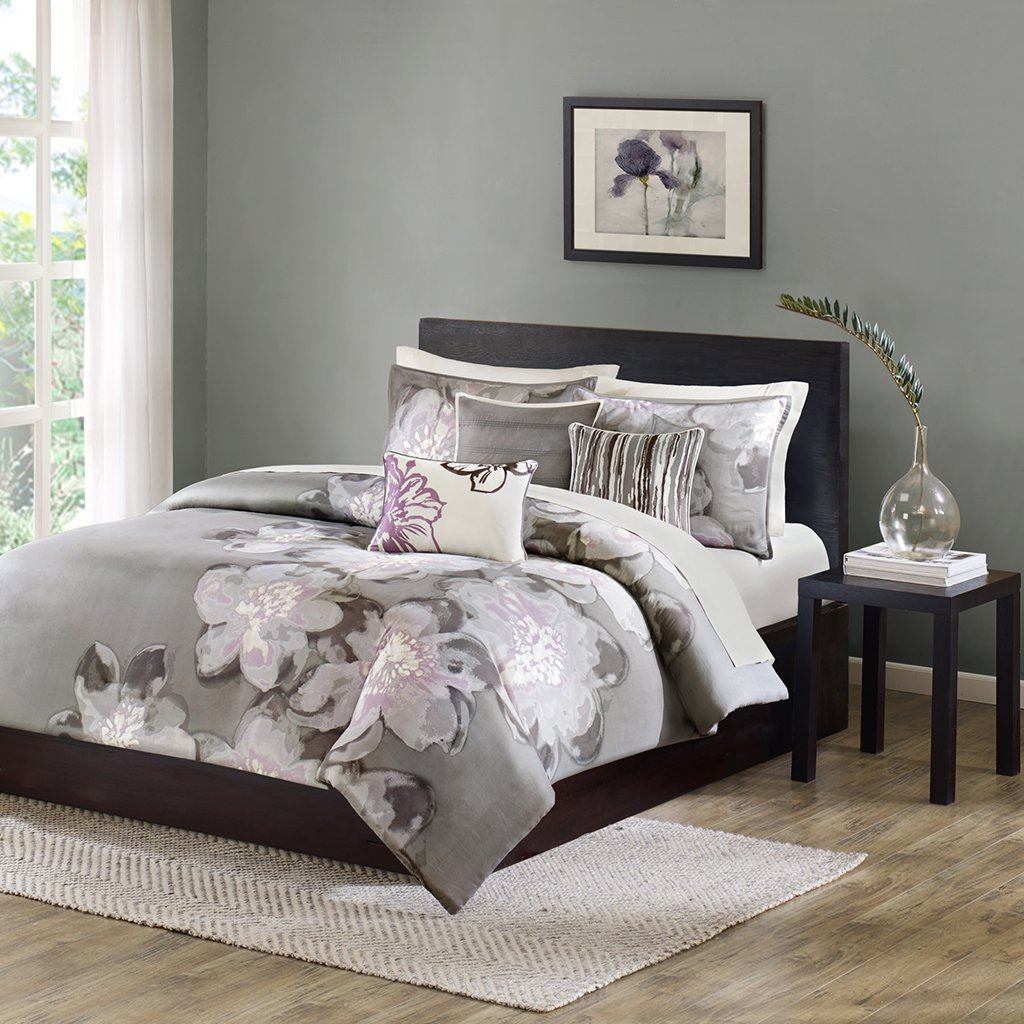 Madison Park Serena Duvet Cover Queen Size - Grey, Floral Duvet Cover Set – 6 Piece – Sateen Cotton Light Weight Bed Comforter Covers