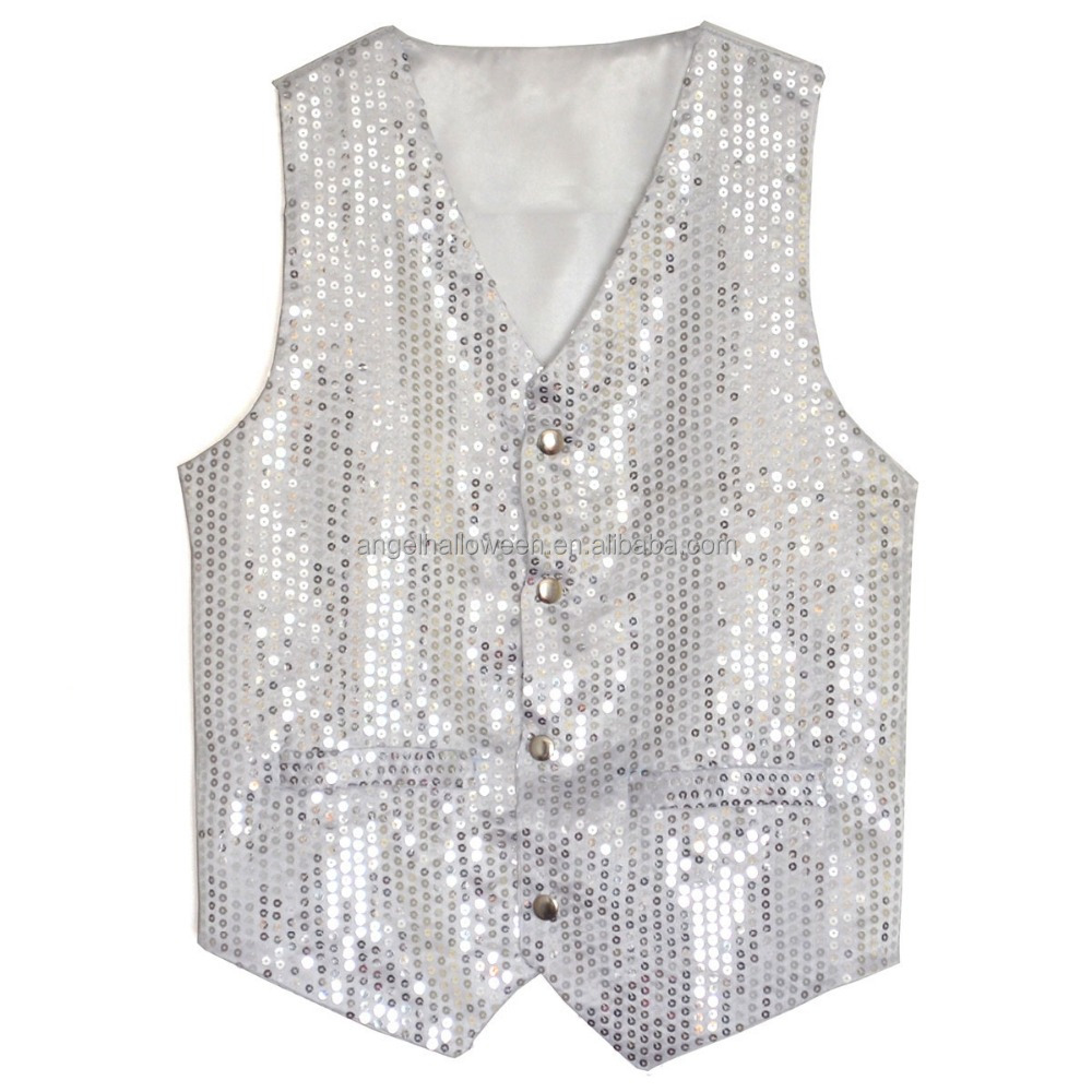 Silver sequin waistcoat mens costume with cheap price AGM3418