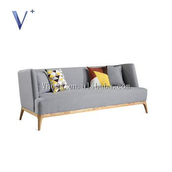 Bed Design Furniture Three Seat Wooden Frame Solid Wood Leg Fabric