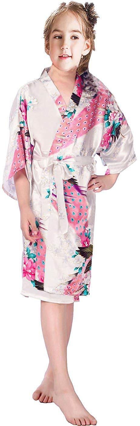 Mobarta Kids Floral Satin Kimono Robe Peacock Bathrobe Flower Girl Getting Ready Robe for Wedding Spa Party Birthday