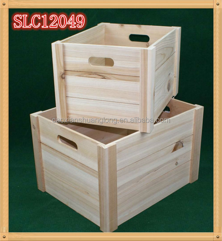 Natural color paulownia wood box fruit crate wooden for Buy wooden fruit crates