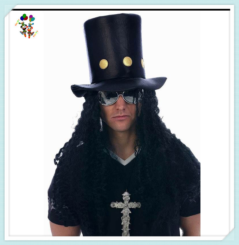 Slash 80s Rock Guitar Man Fancy Dress Party Hats With Wig Hpc-1468 324555e69