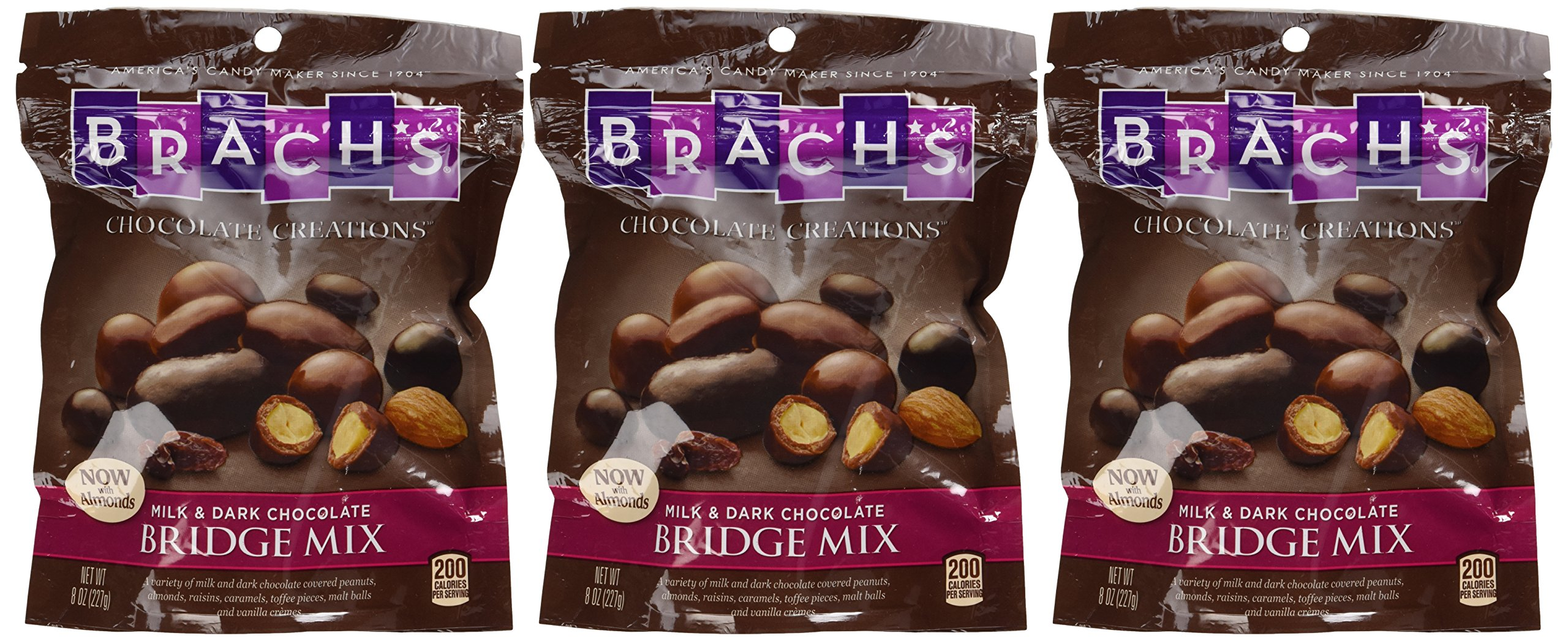 Brach's, Bridge Mix, Milk & Dark Chocolate now with Almonds, 8oz Bag (Pack of 3)