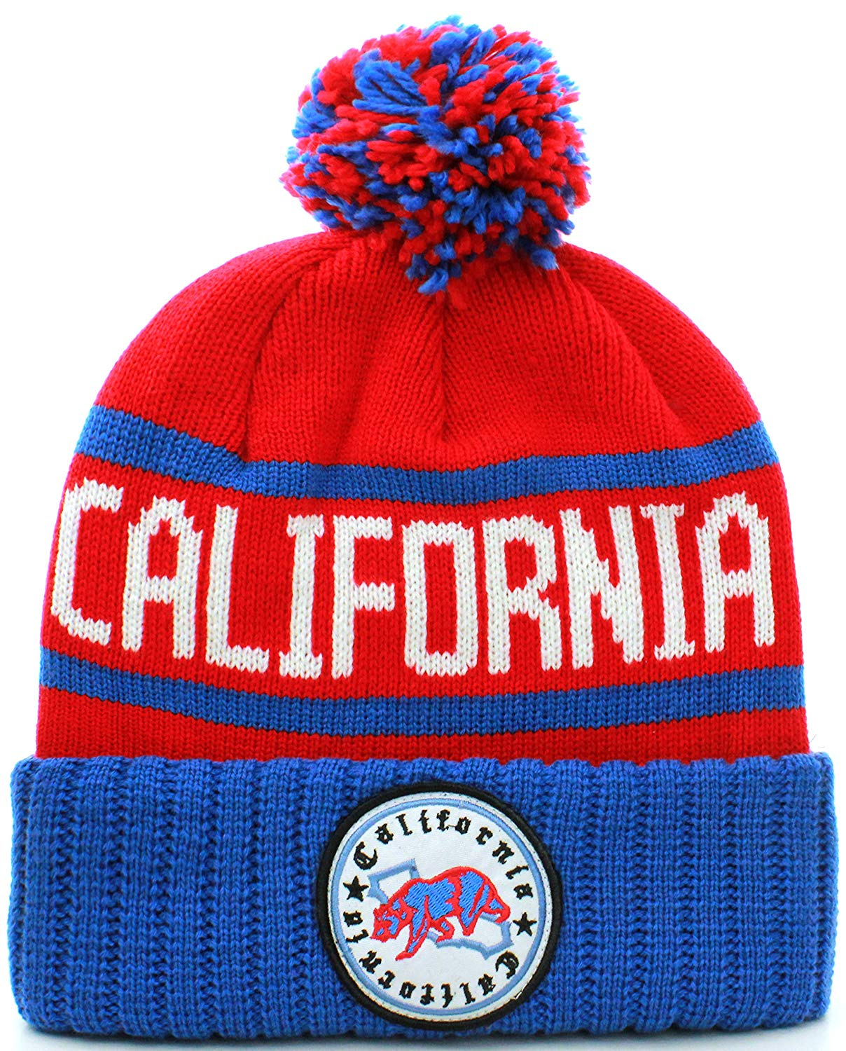 27a23695a72505 Get Quotations · Absolute Clothing California Republic Cuff Beanie Cable Knit  Pom Pom Hat Cap