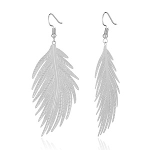 Huilin Feather Metal Ear Drop Earrings Exaggerated Personality Fashionable Ear Drop Fringed Large Earrings For Gift