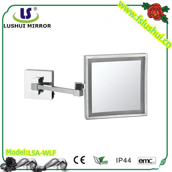 Brass LED Lighted Extendable Arms Square Frame Bathroom Makeup Mirrors