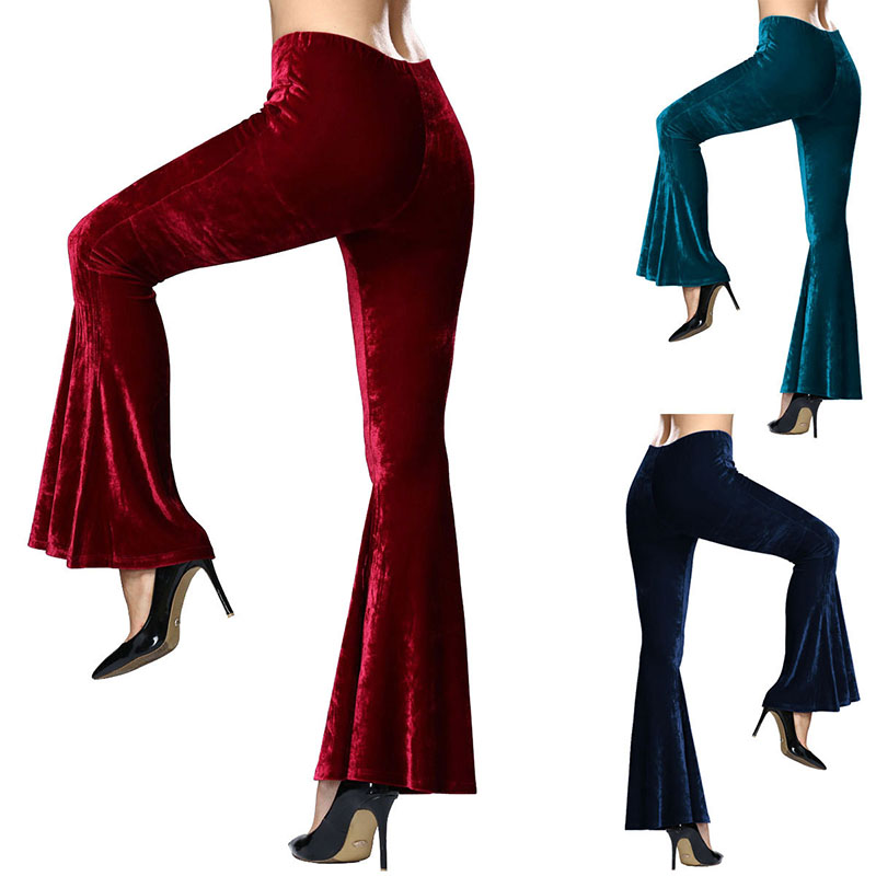 Women's Crushed Velvet Flare Pants Casual Stretch Crushed Velvet Horn Trumpet Trousers