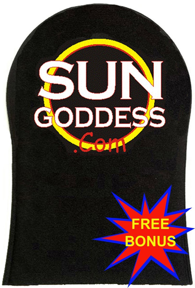 Sun Goddess - Sunless Self Tanning Applicator Mitt + FREE BONUS: (1) Pair of Sunless Self Tanning Applicator Gloves + (3) Sunless Self Tanner Samples - Best Sunless Self Tanning Lotion / Mitt / Gloves