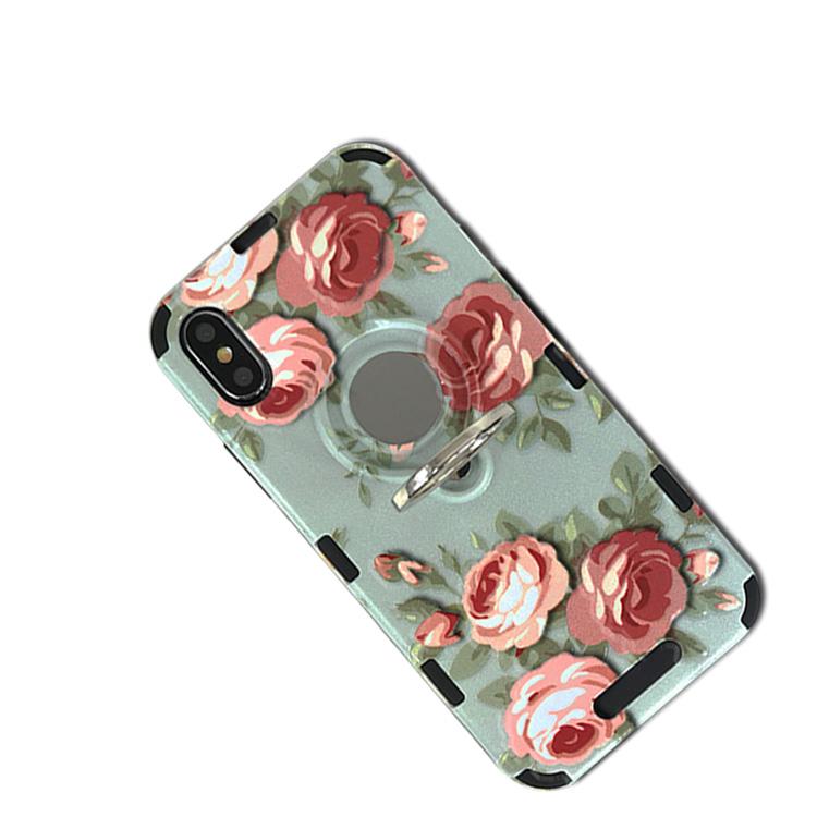 Hot selling custom print telefoon case met magnetische ring houder TPU + PC combo case cover voor iPhone X