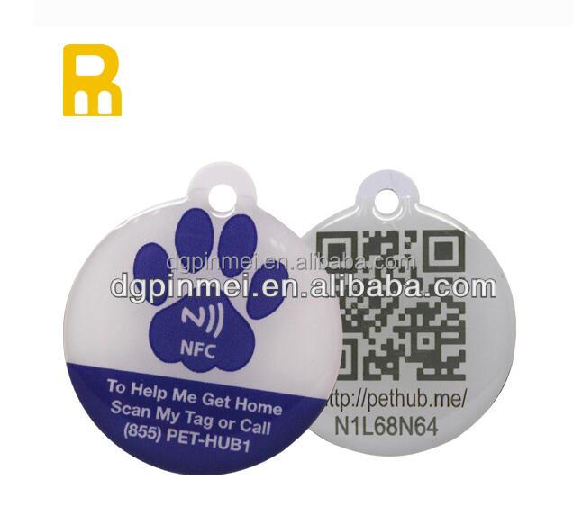 customized request high quality 13.56mhz printable epoxy nfc dog tag