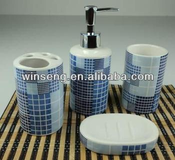 handmade ceramic lattice design bathroom accessories made in china