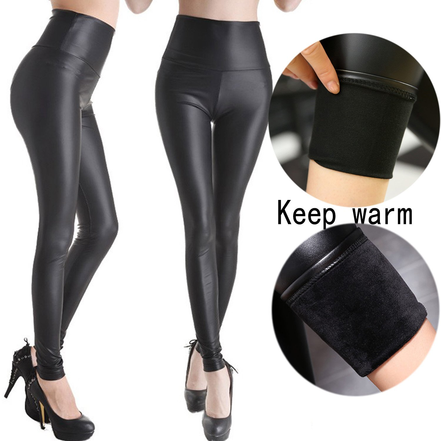 e1dd3b2eb092 Get Quotations · CROSS1946 Sexy Womens Warm Faux Leather High Waisted PU  Velvet Leggings Tight Stretchy Cashmere Pants Hot