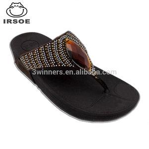 Factory Rhinestone Made In Heel Slippers Fashion Bangkok Ladies Summer Flat HE9WD2I