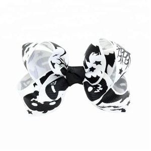 Best price 3.15 Inch Black and white colorblock pumpkin baby girl hair bows ribbon cilp