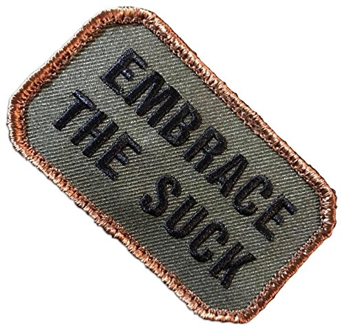 "[Single Count] Custom, Cool & Awesome {3"" x 1.75"" Inches} Octagon ""Embrace The Suck"" Tactical Army Morale Forest Badge (Military) Hook Fastener Patch ""Brown, Black, & Green"""