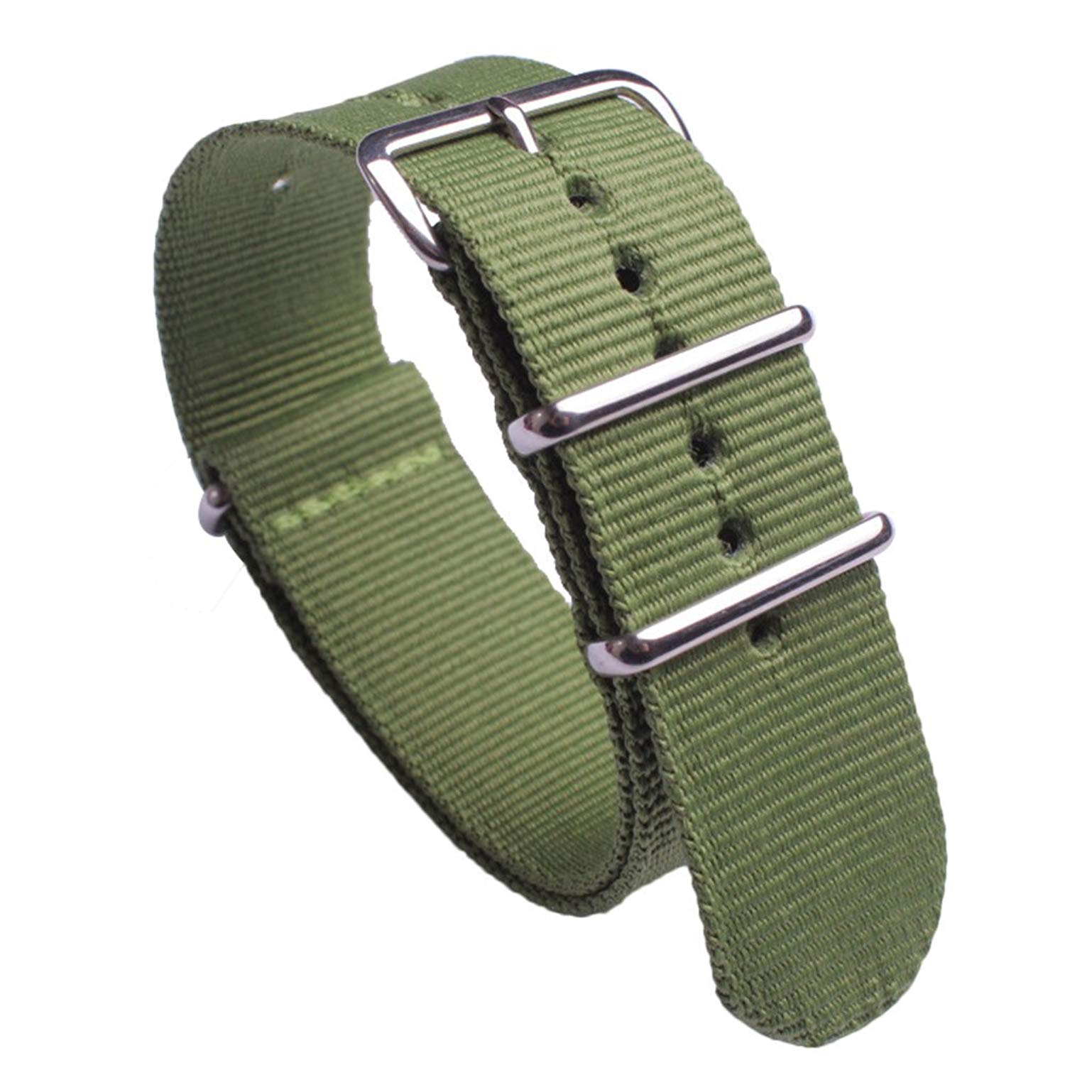 NATO Watch Band with Round String Stainless Steel Buckle Green Premium Ballistic Nylon Watch Strap Replacement Wristband Width 18mm 20mm 22mm 24mm