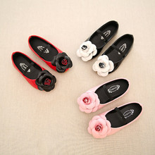 2016 Girls Single Shoes For Summer Autumn With kitten PU Leather Children Shoes flowers Euro Size
