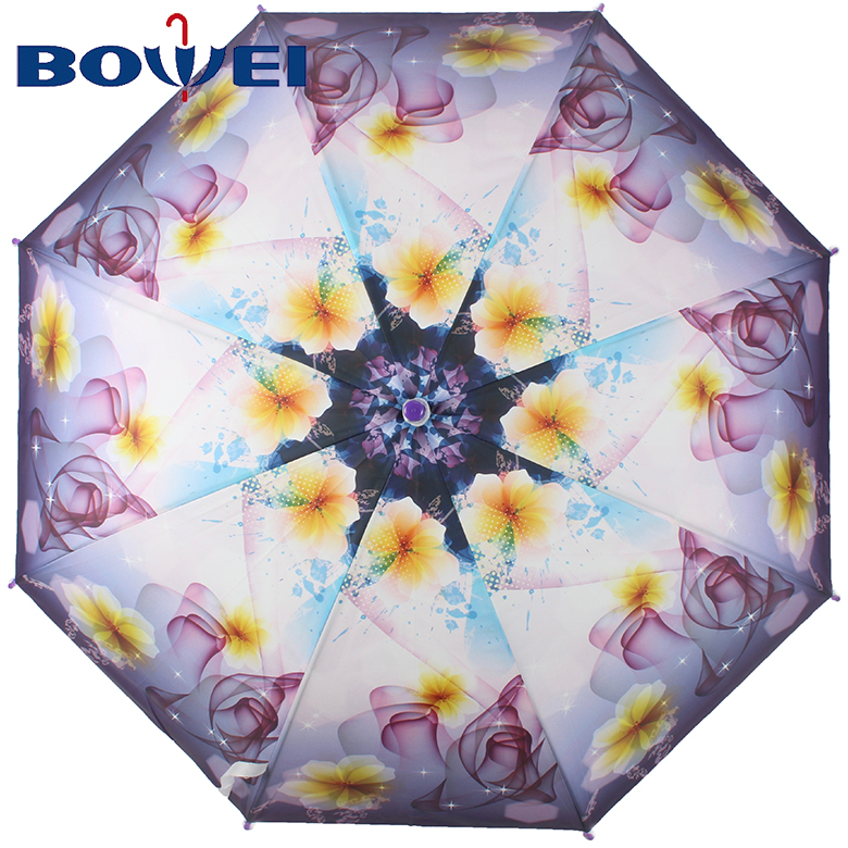 Creative wholesale summer custom logo flower printed clear transparent J handle straight advertising umbrella for lady