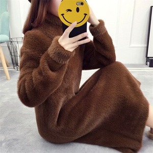 High Neck Winter Sweaters Faux Fur Women's Bottoming Shirt Imitated Mink Wool Long Turtleneck Pullover